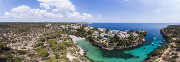 Spain, Balearic Islands, Mallorca, Llucmajor, Aerial view of bay of Cala Pi and Torre de Cala Pi - AMF06160