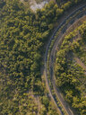 Aerial view of road amidst trees during sunny day - CAVF53426