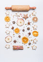 High angle view of cookies on a white background - INGF06269