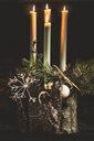 Close-up of illuminated candles at Christmas - INGF06404