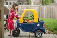 Side view of girl looking at chicken in toy car - CAVF53695