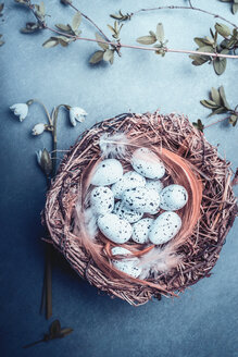 High angle view of eggs in a basket - INGF06462