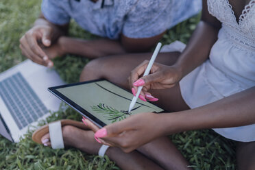 Close-up of young woman with boyfriend in a park drawing on graphics tablet - BOYF00875