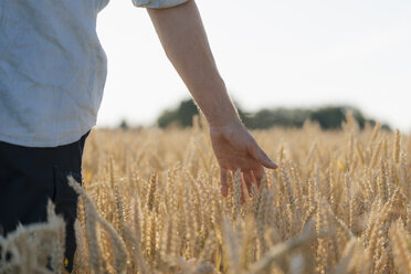 Close-up of man in a field touching ears - GUSF01313