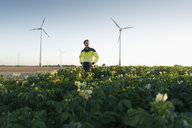 Engineer standing in a field at a wind farm - GUSF01352