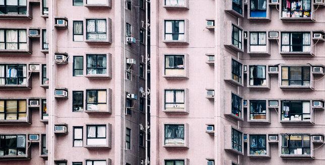China, Hong Kong, Hong Kong Island, facades of apartment tower, partial view - GEMF02524