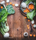 High angle view of fresh food on a wooden table - INGF07127