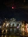 Spain, Puerta de Alcala de Madrid,  seen through the car window with rain - OCMF00112