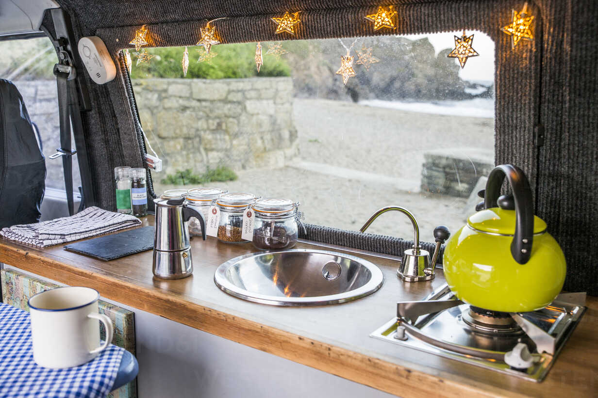 High Angle View Of Kitchen In Motor Home Stockphoto