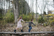 Playful siblings holding hands while running against trees at park - CAVF54797