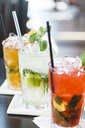 Close-up of drinks on table - CAVF54839