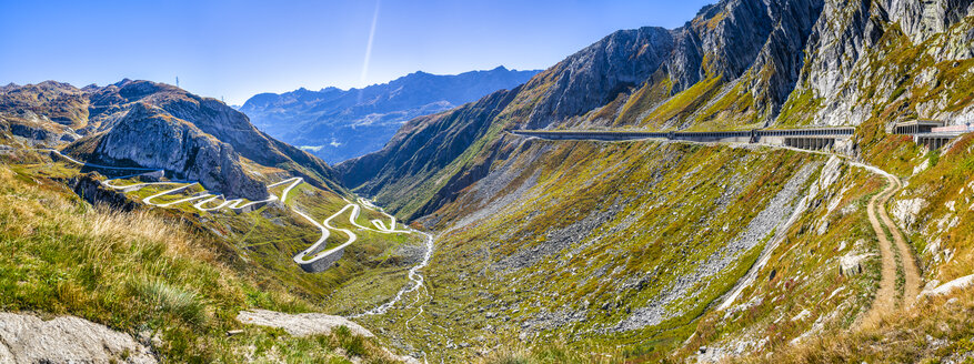 Switzerland, Ticino, Aerial view of Gotthard Pass - STSF01794