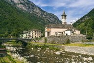 Mountainscape with river and church, Verzasca, Ticino, Switzerland - AURF07840