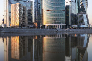 Russia, Moscow, Financial district with modern skyscrapers at sunset - WPEF01127