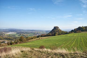 Germany, Baden-Wuerttemberg, Constance district, View to Hohenkraehen in Hegau volcanic landscape in autumn - ELF01944