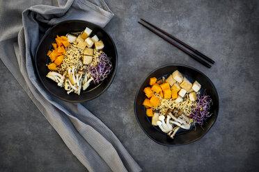 Miso Ramen soup with noodles, hokaido pumpkin, red radish sprouts, fried tofu, shimeji mushroom and king trumpet mushroom - LVF07544