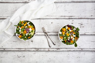 Bowls of autumnal salad with feta and Hokkaido pumpkin - LVF07547