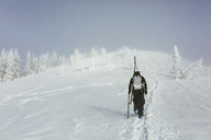Rear view of hiker with backpack and ski walking on snowy hill during winter - CAVF55044