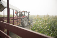 Rear view of man driving tractor at farm against clear sky - CAVF55113