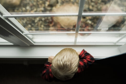 High angle view of baby boy looking through window while standing at home - CAVF55479