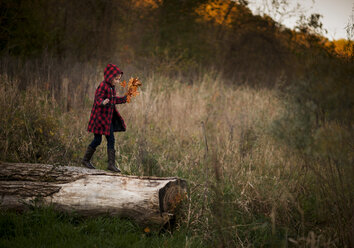 Side view of girl holding leaves while walking on log at park - CAVF55698