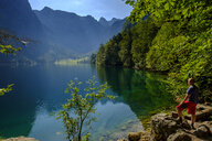 Germany, Bavaria, Upper Bavaria, Berchtesgaden Alps, Berchtesgaden National Park, Salet, Lake Obersee, hiker - LBF02243