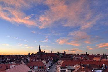 Skyline of Nuremberg at sunset, Bavaria, Middle Franconia, Germany - RUEF02070