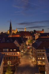 Skyline of Nuremberg at sunset, Bavaria, Middle Franconia, Germany - RUEF02073