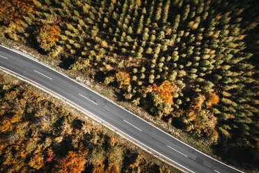 Austria, Lower Austria, Vienna Woods, Exelberg, aerial view on a sunny autumn day over a winding mountainroad - HMEF00105