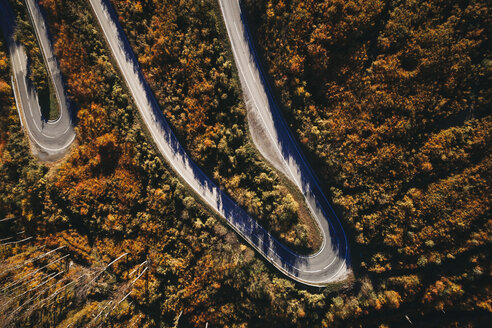 Austria, Lower Austria, Vienna Woods, Exelberg, aerial view on a sunny autumn day over a winding mountainroad - HMEF00108