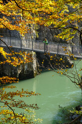 Austria, Tyrol, hiker on suspension bridge looking at Tiroler Ache in autumn - LBF02253