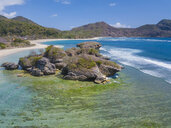 Indonesia, West Sumbawa, Aerial view of Rantung beach - KNTF02344