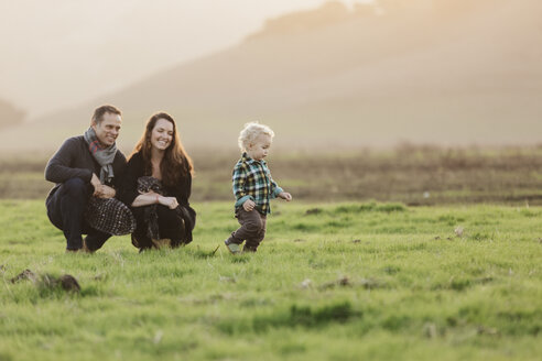 Smiling parents looking at son walking on grassy field - CAVF55950