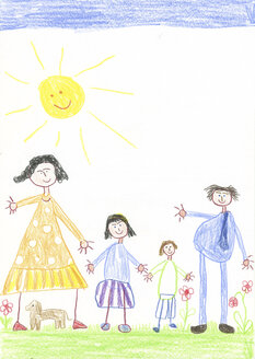 Children´s drawing, happy family with dog in the garden - CMF00864