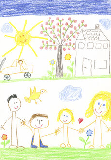 Children´s drawing, happy family with house, car, garden, apple tree and sunshine - CMF00867