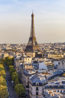 France, Paris, cityscape with Eiffel Tower and residential buildings - WDF04877