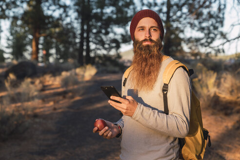 USA, North California, bearded man with cell phone and apple in a forest near Lassen Volcanic National Park - KKAF02980