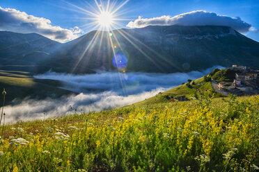 Italy, Umbria, Sibillini National Park, Piano Grande di Castelluccio di Norcia at sunrise - LOMF00757