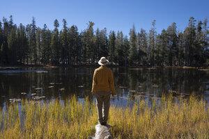USA, California, Yosemite National Park, hiker standing on tree trunk in autumn - KKAF03009