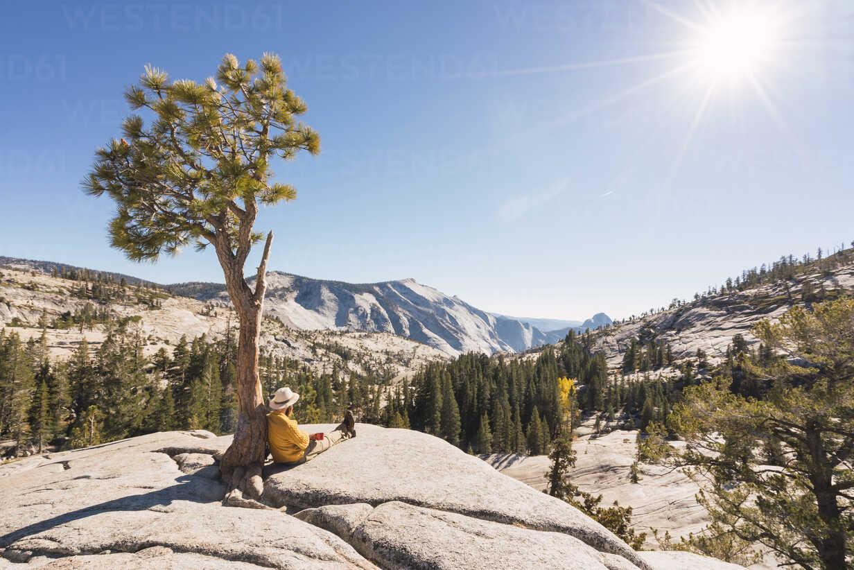 USA, California, Yosemite National Park, hiker leaning on tree - KKAF03015 - Kike Arnaiz/Westend61