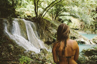 Young woman wearing bikini top while looking at view in forest - CAVF56049