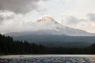 Scenic view of Trillium Lake by Mt Hood against sky - CAVF56208