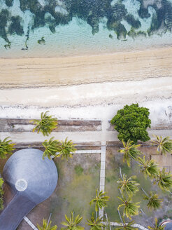 Indonesia, West Sumbawa, Aerial view of Kertasari, beach and hut from above - KNTF02376