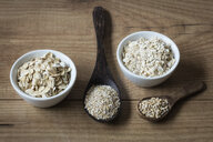 Two variations of oat flakes, oat bran and steel-cut oats - EVGF03378