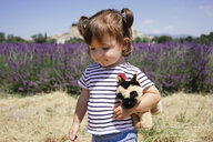 France, Grignan, portrait of baby girl with soft toy in front of lavender field - GEMF02610