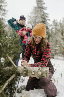Father carrying daughter while wife cutting pine tree in forest during winter - CAVF56848