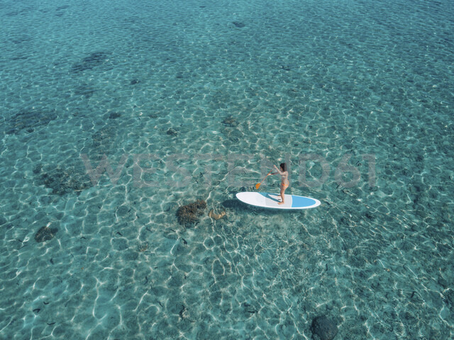 High angle view of woman paddleboarding on sea - CAVF57166 - Cavan Images/Westend61