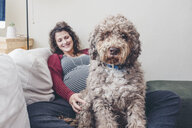 Portrait of poodle against smiling pregnant woman relaxing at home - CAVF57193