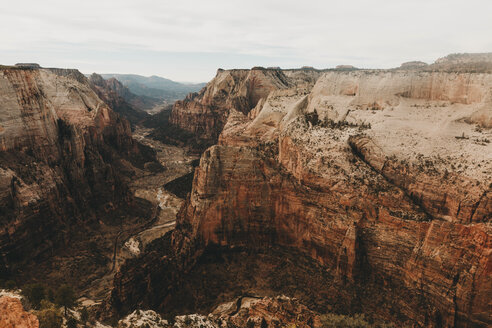 High angle view of canyons against sky at Zion National Park - CAVF57277