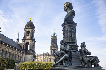 Germany, Dresden, Higher Regional Court, Dresden Cathedral and monument of Ernst Rietschel - JATF01085